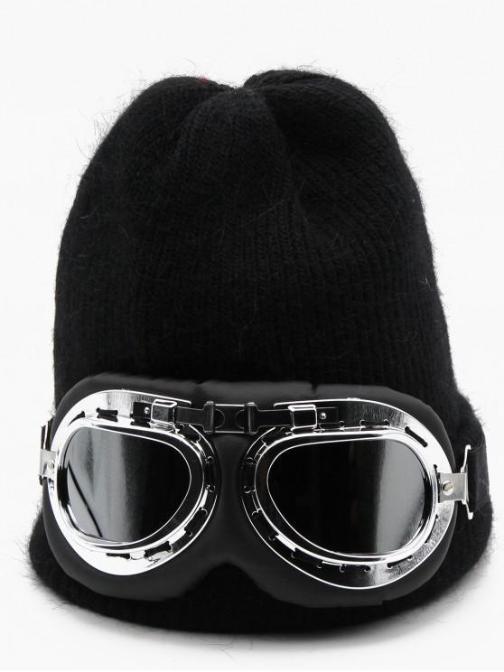 shops Novelty Eye Mask Knitted Ski Cap - BLACK