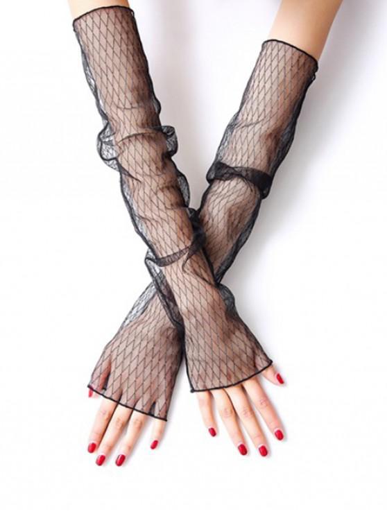 best Vintage Summer Rhombus Thin Gloves - BLACK