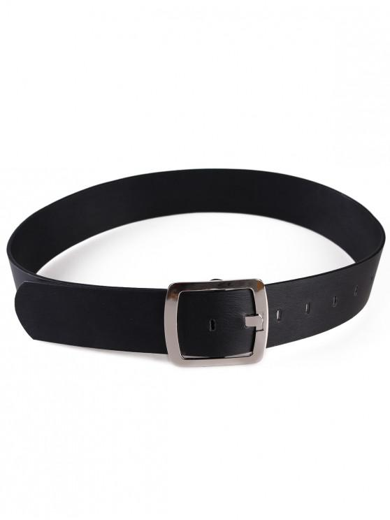 women's Metal Square Buckle Faux Leather Dress Belt - BLACK