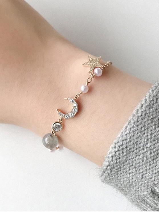 lady Zircon Star Moon Shape Charm Bracelet - GOLD
