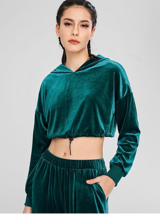 shop ZAFUL Velvet Drop Shoulder Crop Hoodie - DARK GREEN M