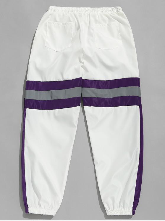 Pantalon de Jogging Rayé Contrasté Réfléchissant - Blanc 2XL