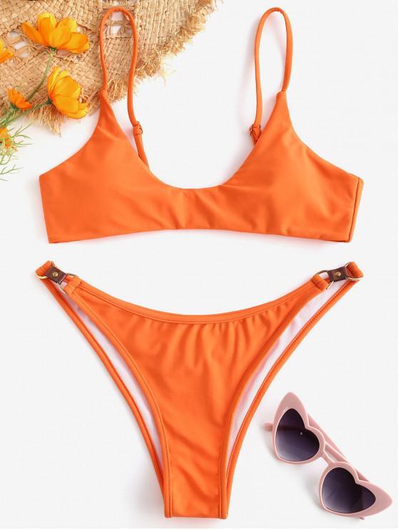 Bikini Acolchado con Herrajes Metálicos ZAFUL - Naranja de Calabaza  M