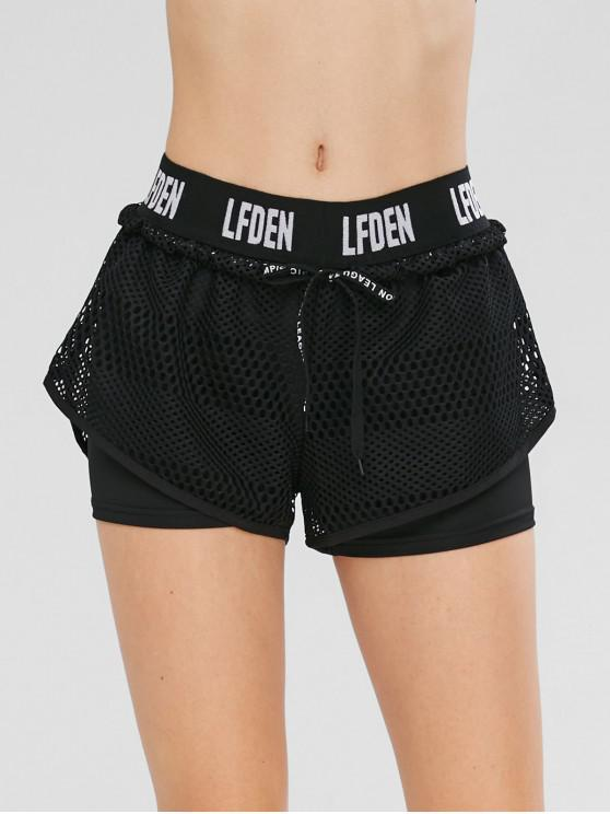 unique Drawstring Fishnet Overlay Gym Shorts - BLACK L