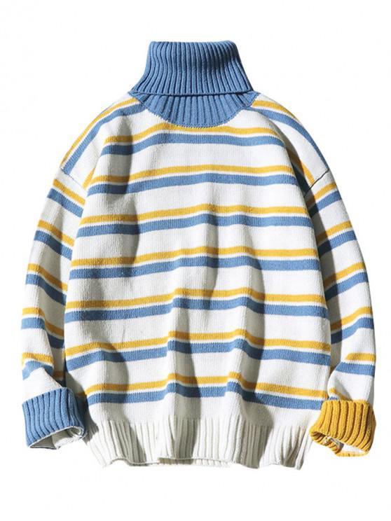 Maglione A Righe A Contrasto Con Collo Alto - Bianca XL