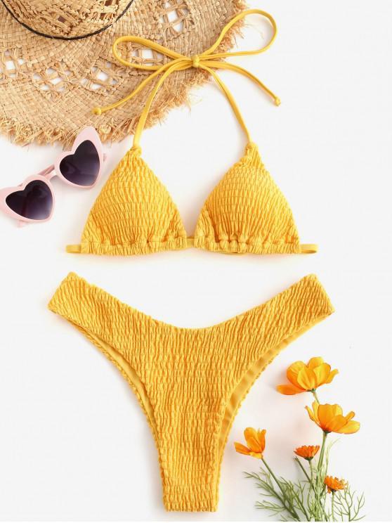 new ZAFUL Halter Smocked Bikini Set - MUSTARD S