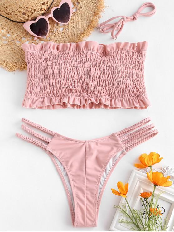 best ZAFUL Ruffles Braided Smocked Bikini Set - LIGHT PINK M