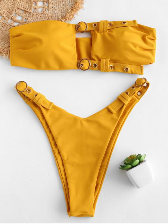 buy ZAFUL Buckled Cutout Bandeau Bikini Set - BRIGHT YELLOW L