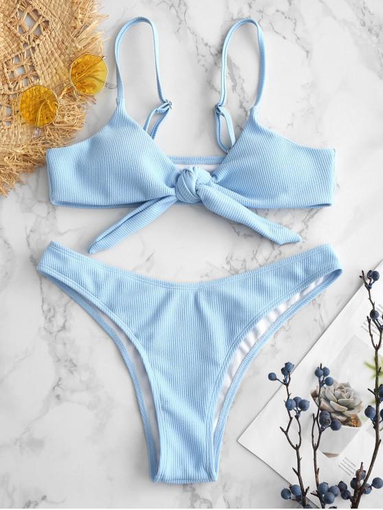 fashion ZAFUL Tied Ribbed Bikini Set - SKY BLUE L