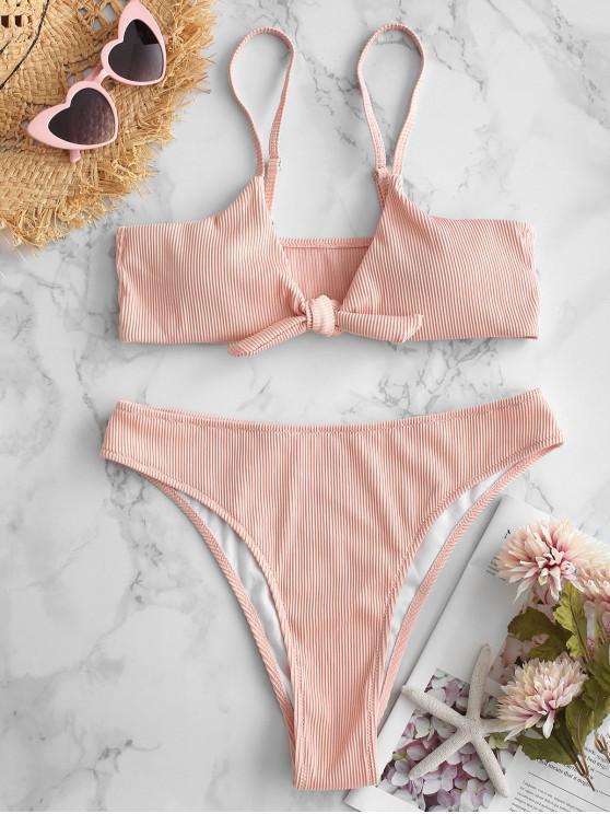 buy ZAFUL Textured Rib Tie Front Bikini Set - SAKURA PINK M