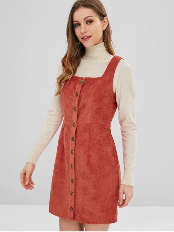unique ZAFUL Corduroy Button Up Mini Dress - CHOCOLATE S