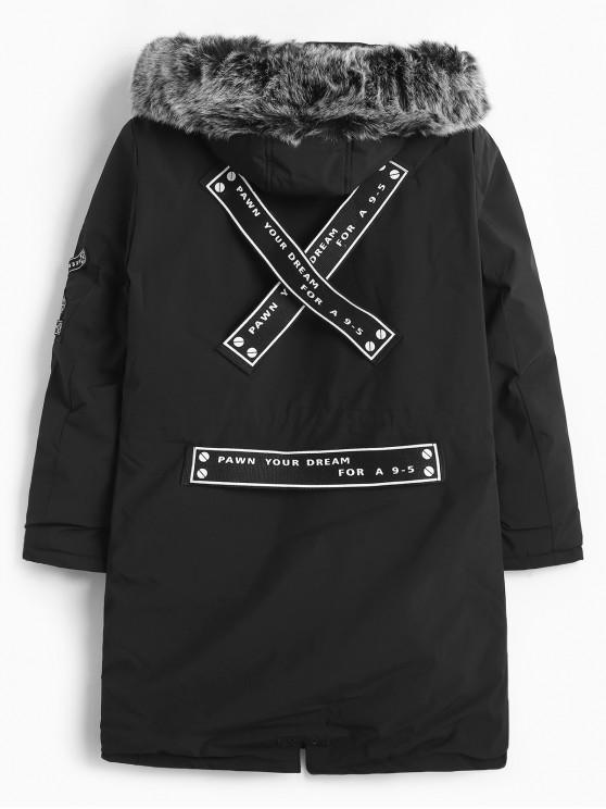 Cinturón con capucha mullido adornar acolchado abrigo - Negro S