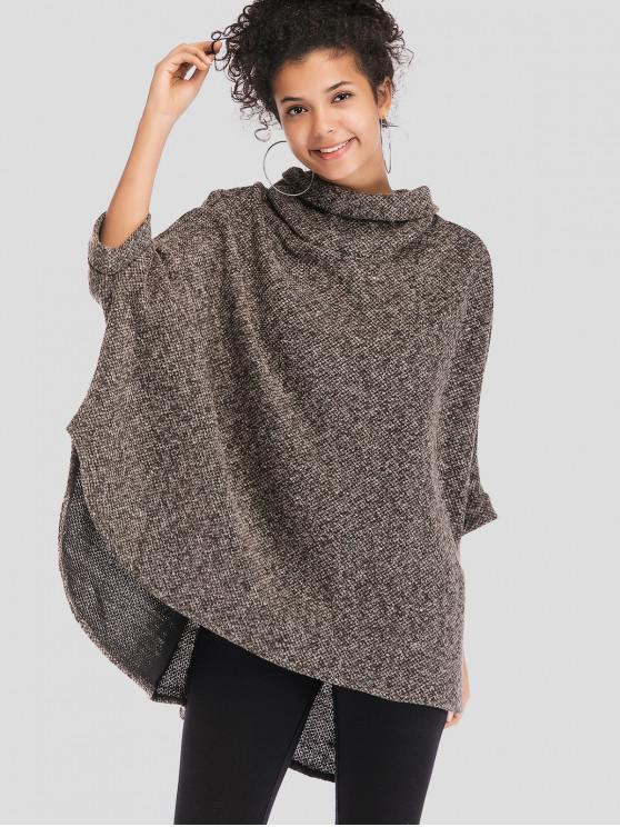 affordable Cowl Neck Oversized Poncho Sweater - MULTI ONE SIZE
