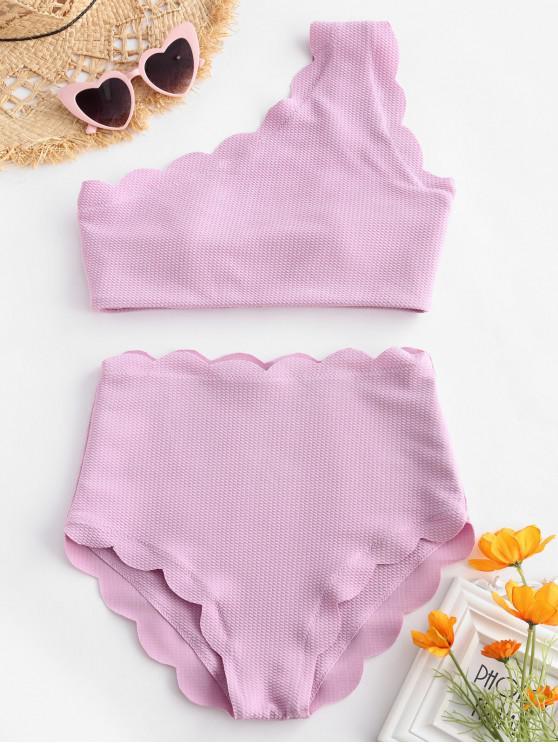 Bikini de un Hombro Festoneado con Talle Alto - Color de malva L
