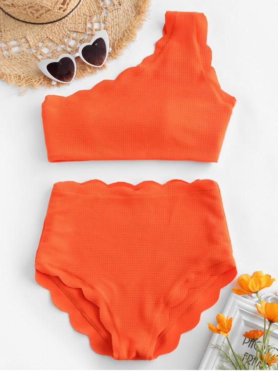 affordable High Waisted Scalloped One Shoulder Bikini Set - BRIGHT ORANGE S