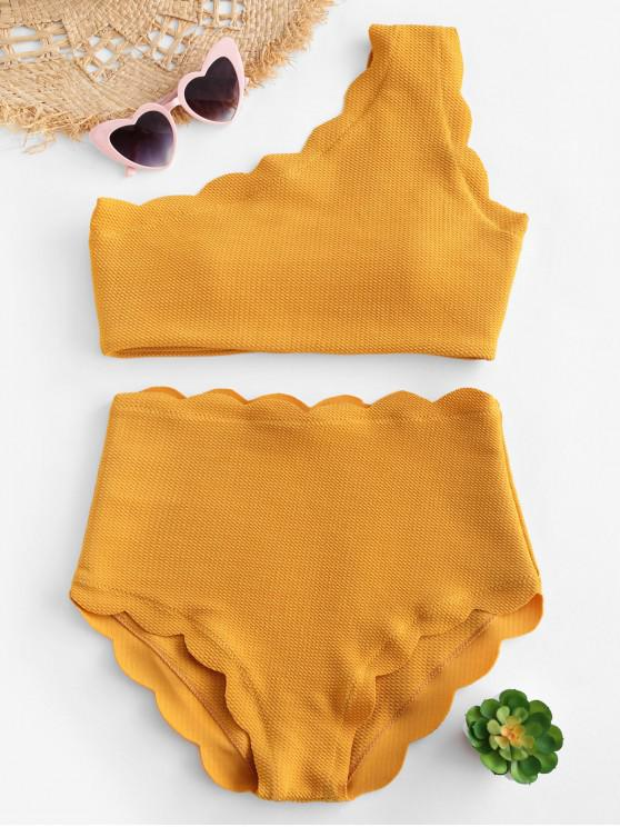 outfits High Waisted Scalloped One Shoulder Bikini Set - MUSTARD S