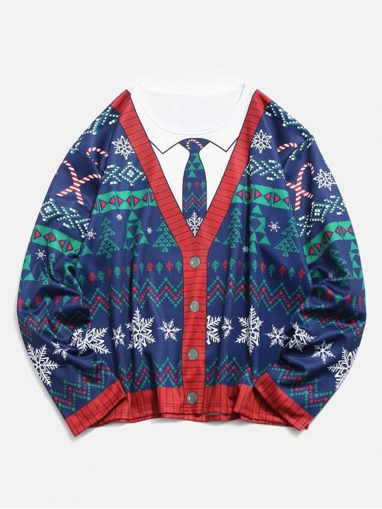 lady Plus Size Christmas 3D Printed Pullover T-shirt - DEEP BLUE 1XL