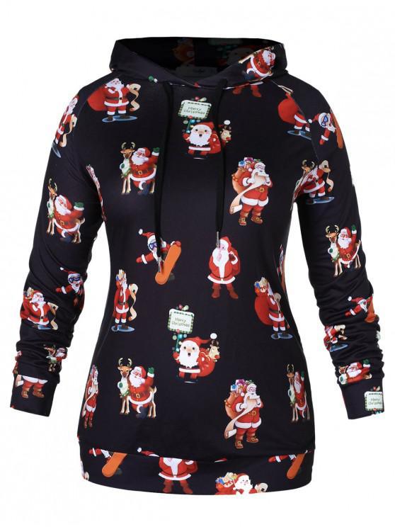 womens Plus Size Santa Claus Print Christmas Hoodie - BLACK 2X