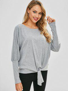 Front Knot Batwing Sleeve Oversized Tee - Gray M
