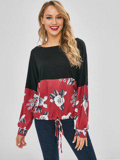 T-shirt à Imprimé Fleuri à épaules Dénudées - Noir S
