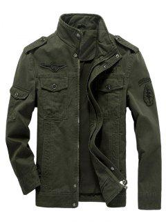 Embroidered Applique Epaulette Jacket - Army Green 2xl