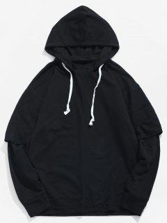 Solid False Two Piece Hoodie - Black 2xl