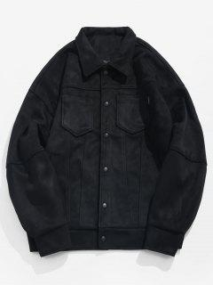 Solid Button Up Suede Jacket - Black L