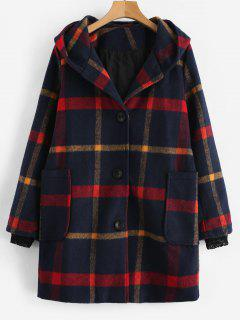 Plaid Single Breasted Hooded Trench Coat - Multi M