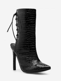 Snake Print Lacing Back Heeled Boots - Black Eu 35
