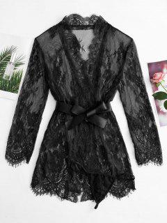 Lace See Thru Robe With Belt - Black Xl