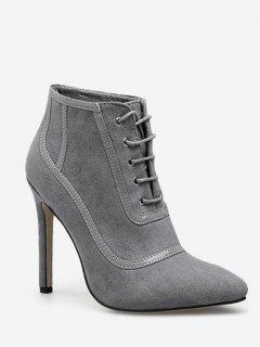 Lace Up Heeled Suede Ankle Boots - Gray Eu 36