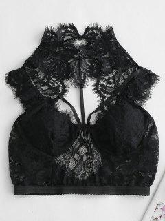 Lace Bralette Strappy Lingerie Bra - Black S