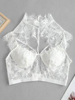 Lace Bralette Strappy Lingerie Bra - White S