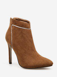 Contrast Stripe Pointed Toe Ankle Boots - Camel Brown Eu 37