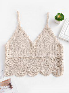 Crochet Scalloped Cami Tank Top - Warm White L
