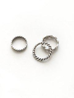 3Pcs Minimalist Twisted Design Rings - Silver