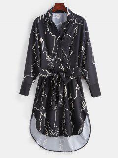 Vestido Casual Anudado Impreso - Negro L
