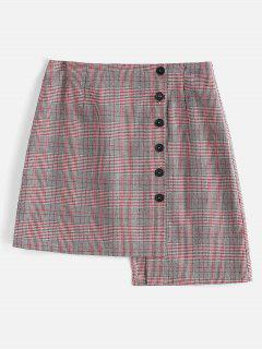Houndstooth Plaid Asymmetrical Skirt - Multi M