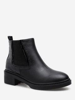 Geometric Print Ankle Chelsea Boots - Black Eu 35