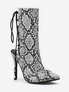 Snake Print Lacing Back Heeled Boots - White Eu 35