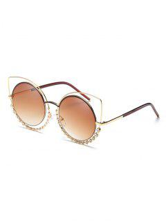 Novelty Rhinestone Hollow Out Round Sunglasses - Camel Brown