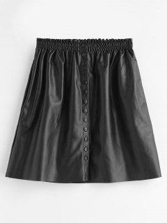 PU Leather Snap Button Mini Skirt - Black L