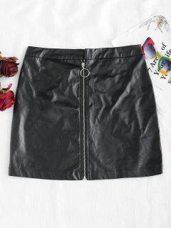 Mini Falda De Cuero Con Cremallera PU - Negro M