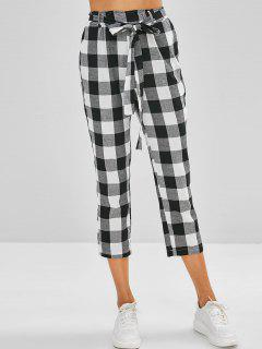 High Waist Belted Plaid Pants - Black M