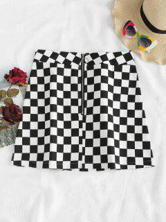 Checkered Zipper Front Skirt - Black M