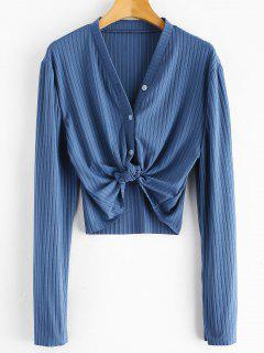 Ribbed Button Up Cropped Top - Silk Blue S