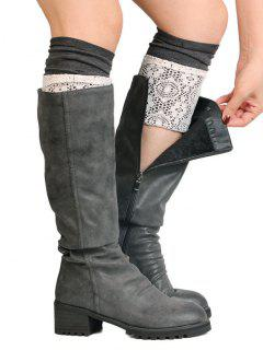 Floral Knitted Short Leg Warmers - Ash Gray