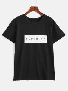 Camiseta Estampada De Manga Corta - Negro L