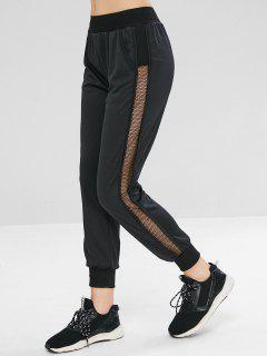 Sheer Fishnet Mesh Paneled Joggers Pants - Black M