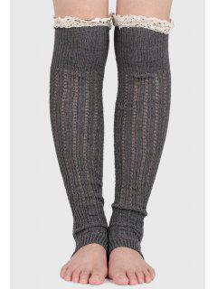 Lace Solid Color Long Leg Warmers - Cendre Gris